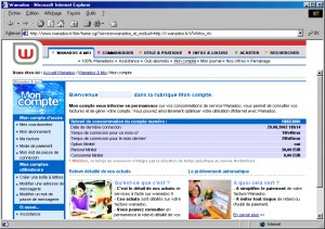 Interface Web Wanadoo en 2002